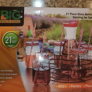 Glass bottle and serving jar set 21 pieces
